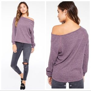 Project Social T Elm Cowl Neck Sweater Blackberry